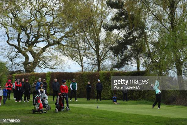 Beth Coulter tees off on the 16th hole during the final round of the Girls' U16 Open Championship at Fulford Golf Club on April 29 2018 in York...