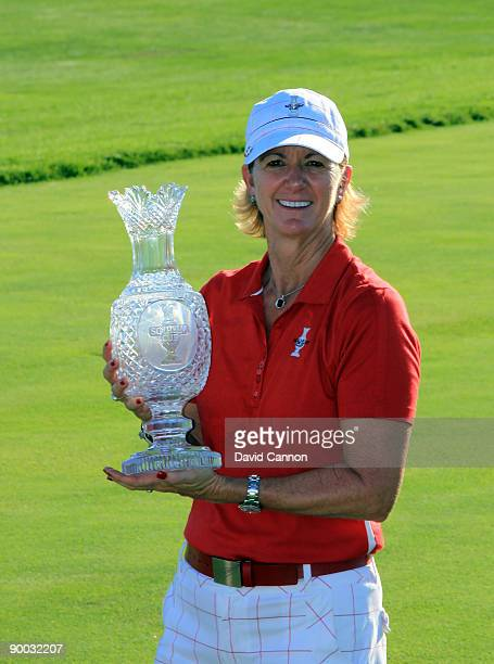 Beth Daniel the captain of the USA team with the trophy after the Sunday singles matches at the 2009 Solheim Cup Matches at the Rich Harvest Farms...