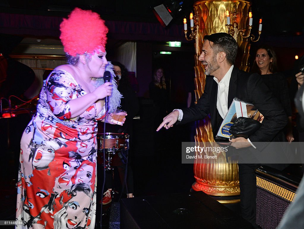 Beth Ditto (L) and Marc Jacobs attend the Marc Jacobs Beauty dinner at the Club at Park Chinois on February 20, 2016 in London, England.