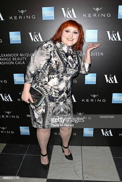 Beth Ditto arrives at the Alexander McQueen: Savage Beauty Fashion Gala at the V&A, presented by American Express and Kering on March 12, 2015 in...