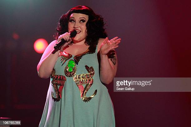 Beth Ditto of Gossip performs during the Bambi 2010 Award Ceremony at Filmpark Babelsberg on November 11 2010 in Potsdam Germany
