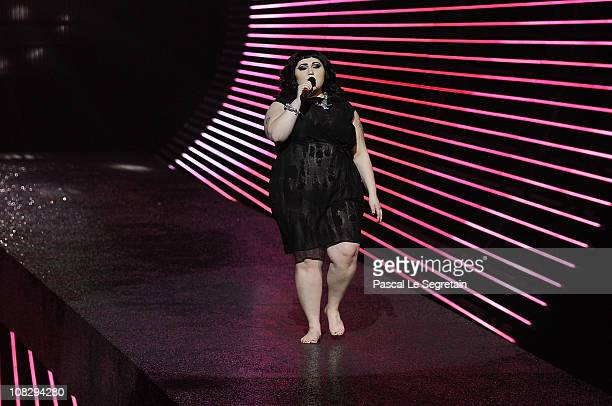 Beth Ditto of Gossip performs during the Etam Fashion Show Spring/Summer 2011 Collection Launch at Grand Palais on January 24, 2011 in Paris, France.