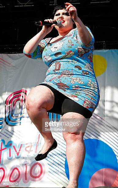 Beth Ditto of the band Gossip performs on stage at the Melbourne leg of the Good Vibrations music festival at Flemington Racecourse on February 21...