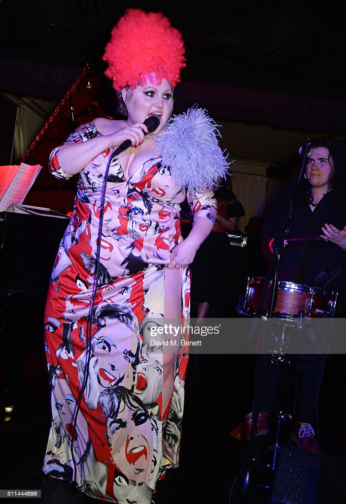Beth Ditto performs at the Marc Jacobs Beauty dinner at the Club at Park Chinois on February 20, 2016 in London, England.