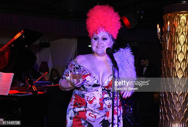 Beth Ditto performs at the Marc Jacobs Beauty dinner at the Club at Park Chinois on February 20 2016 in London England