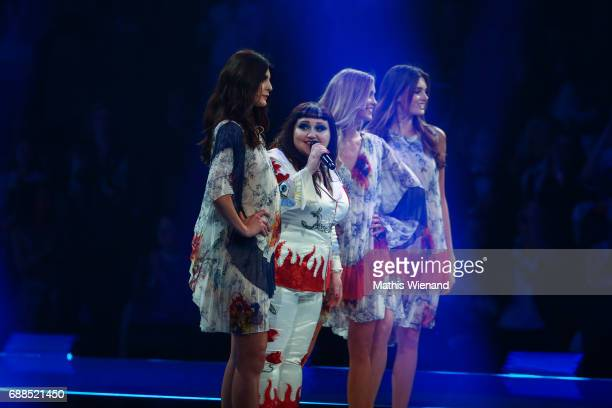 Beth Ditto with the last three finalists during the Germany's Next Topmodel Final at KoenigPilsenerARENA on May 25 2017 in Oberhausen Germany