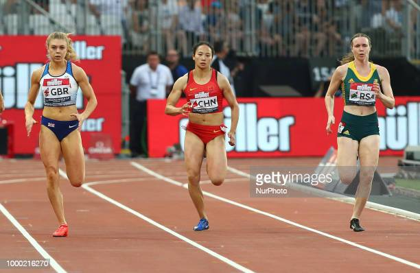 LR Beth Dobbin of Great Britain and Northern Ireland Guifen Huang of China and Justine Paleraman of South Africa compete in the 200m Women during...