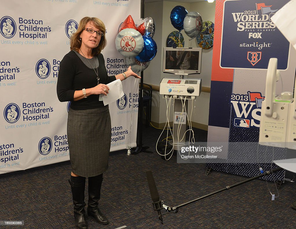 Beth Donegan, Director, Child Life Services, Boston Children's Hospital, along with MLB, and Boston Red Sox celebrate World Series with Boston Children's Hospital Starlight Fun Center Donation at Boston Children's Hospital on October 22, 2013 in Boston, Massachusetts.