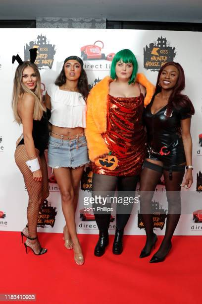 Beth Dunlavey Georgina Aurelia Elliott Ella May and Brooke Derosiers attend the KISS Haunted House Party 2019 at The SSE Arena Wembley on October 25...