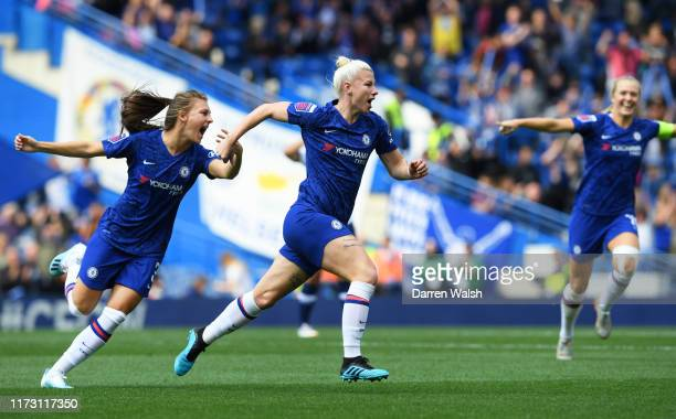 Beth England of Chelsea celebrates after scoring her team's first goal with Hannah Blundell during the Barclays FA Women's Super League match between...