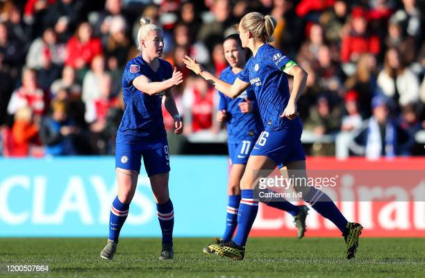 Beth England of Chelsea celebrates with Magdalena Eriksson after scoring his team's first goal during the Barclays FA Women's Super League match...