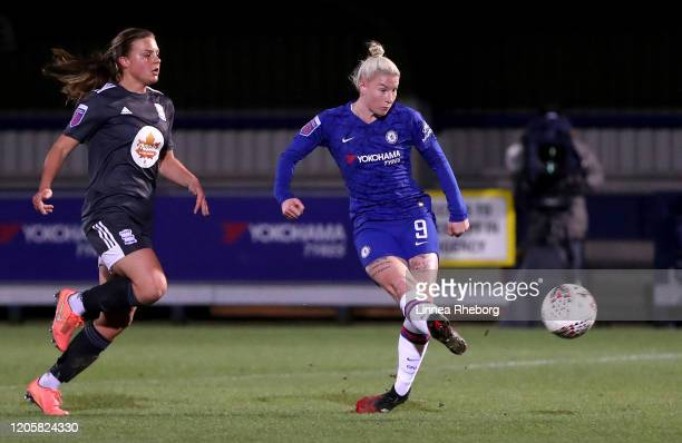 Beth England of Chelsea scores her team's second goal during the Barclays FA Women's Super League match between Chelsea and Birmingham City at...