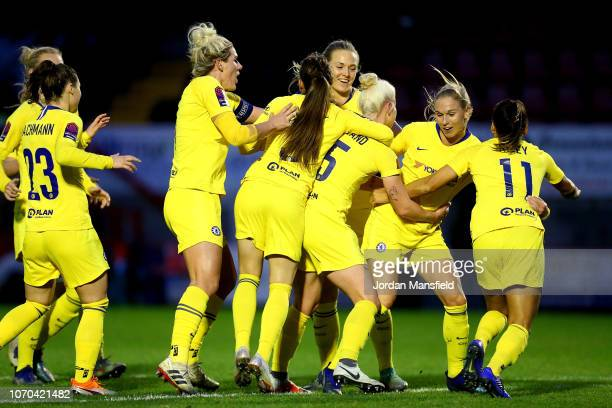 Beth England of Chelsea Women celebrates with her teammates after scoring her sides second goal during the FA WSL match between Brighton and Hove...