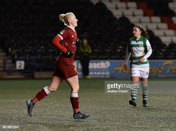 Beth England of Liverpool Ladies celebrates after scoring the fifth goal during the FA Women's Super League match between Liverpool Ladies and Yeovil...