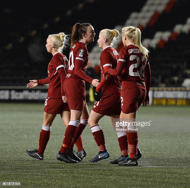 Beth England of Liverpool Ladies celebrates after scoring the second goal during the FA Women's Super League match between Liverpool Ladies and...