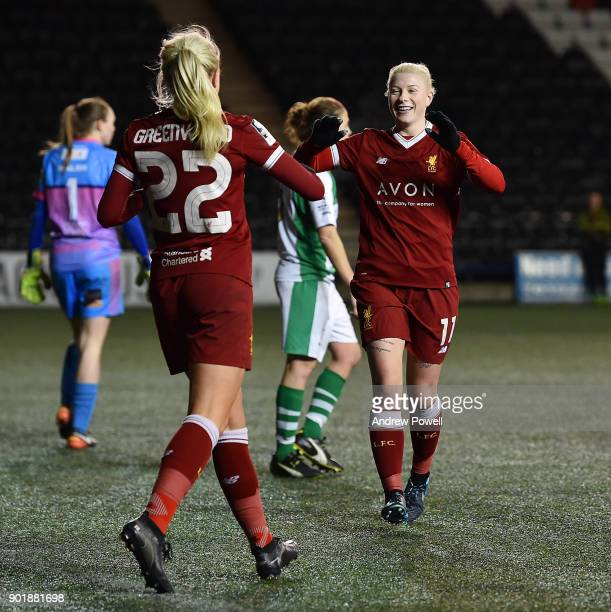 Beth England of Liverpool Ladies celebrates after scoring the seventh goal during the FA Women's Super League match between Liverpool Ladies and...
