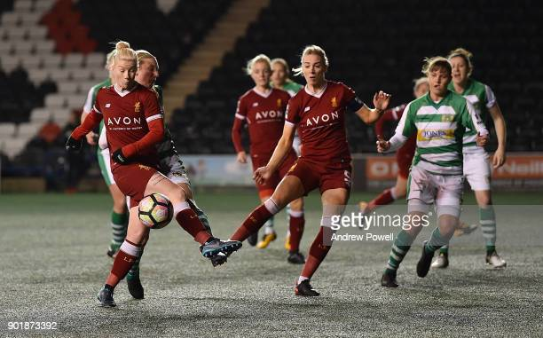 Beth England of Liverpool Ladies comes close to scoring during the FA Women's Super League match between Liverpool Ladies and Yeovil Town Ladies at...