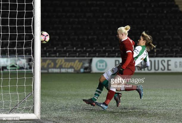 Beth England of Liverpool Ladies scoring the fifth goal during the FA Women's Super League match between Liverpool Ladies and Yeovil Town Ladies at...