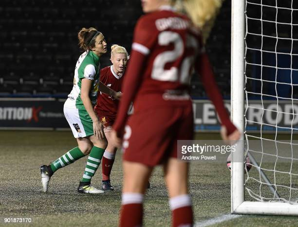 Beth England of Liverpool Ladies scoring the second goal during the FA Women's Super League match between Liverpool Ladies and Yeovil Town Ladies at...