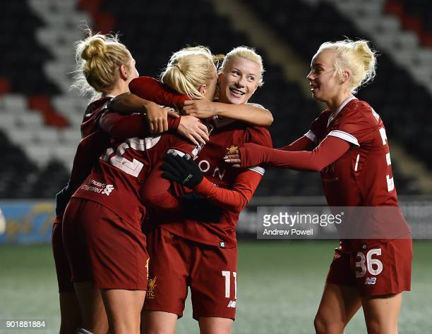 Beth England of Liverpool Ladies scoring the seventh goal during the FA Women's Super League match between Liverpool Ladies and Yeovil Town Ladies at...