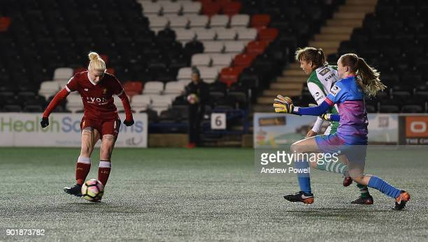 Beth England of Liverpool Ladies scoring the third goal during the FA Women's Super League match between Liverpool Ladies and Yeovil Town Ladies at...