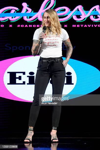 Beth Fairchild speaks on stage during Ana Ono Intimates Project Cancerland At New York Fashion Week Powered By Art Hearts Fashion NYFW 2020 at The...
