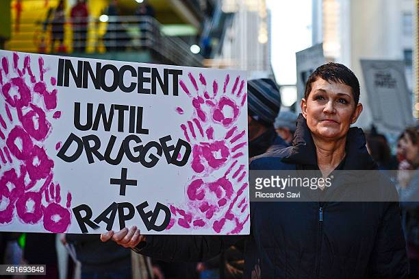 Beth Ferrier alleged rape victim gathers with protestors outside of a Bill Cosby show on January 17 2015 in Denver Colorado