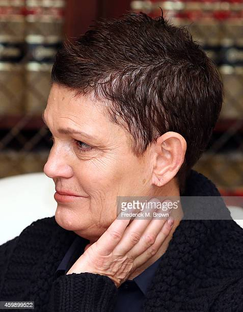 Beth Ferrier an alleged victim of Bill Cosby speaks during a press conference with attorney Gloria Allred and two other alleged victims on December 3...