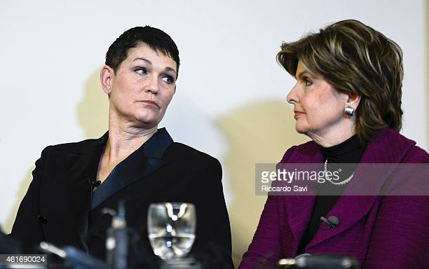 Beth Ferrier and Gloria Allred attend a press conference regarding allegations against Bill Cosby on January 17 2015 in Denver Colorado