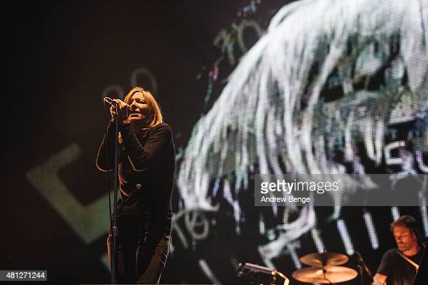 Beth Gibbons of Portishead performs on the main stage during day 3 of Latitude Festival on July 18 2015 in Southwold United Kingdom