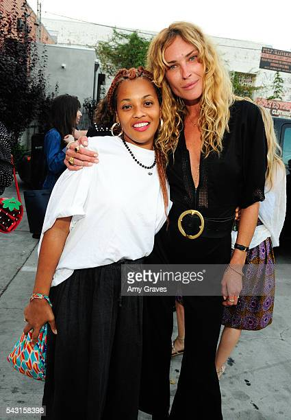 Beth Gibbs and Erin Wasson attend Shop Super Street Celebrates Wasson Fine on June 25 2016 in Los Angeles California