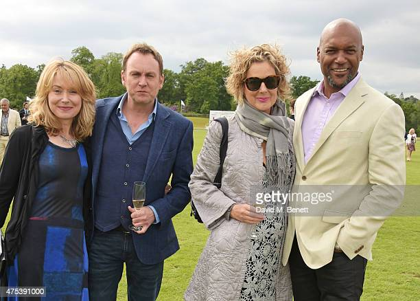 Beth Goddard Phil Glenister Fiona Hawthorne and Colin Salmon attend day two of the Audi Polo Challenge at Coworth Park on May 31 2015 in London...