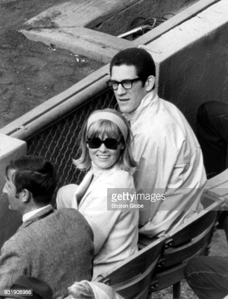 Beth Havlicek left and John Havlicek right attend a Boston Red Sox game against the Cleveland Indians at Fenway Park in Boston April 20 1968