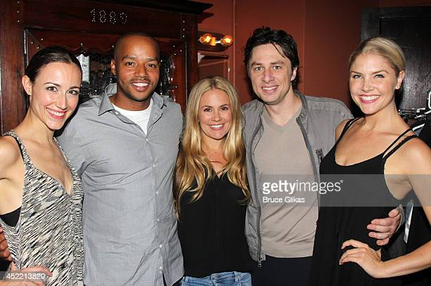 Beth Johnson Nicely Donald Faison wife Cacee Cobb Zach Braff and Amanda KlootsLarsen pose backstage at the hit musical Bullets Over Broadway on...