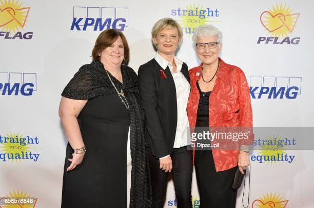 Beth Kohm, Martha Plimpton and Jean Hodges attend the ninth annual PFLAG National Straight for Equality Awards Gala on March 27, 2017 in New York...