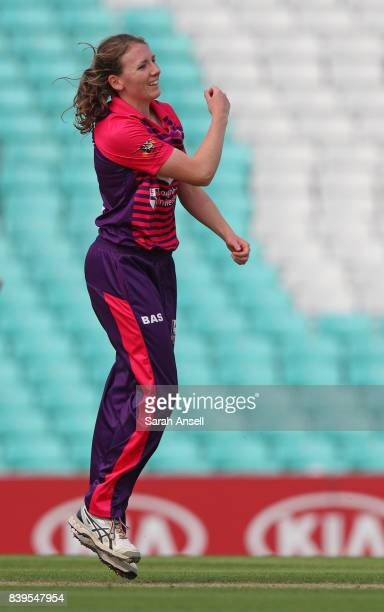 Beth Langston of Loughborough Lightning celebrates after bowling Sophia Dunkley of Surrey Stars during the Kia Super League 2017 match between Surrey...