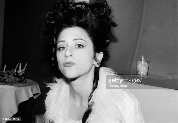 Beth Lapides backstage dressed in costume for her campaign to be elected First Lady puckers up for a photograph at the ACLU of Southern California...