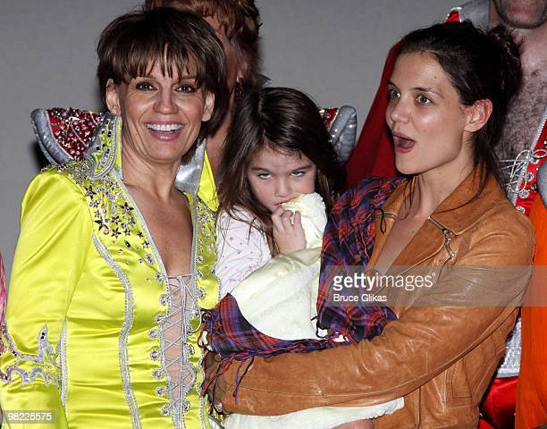 COVERAGE *** Beth Leavel Suri Cruise and Katie Holmes backstage at the hit musical 'Mamma Mia' on Broadway at The Wintergarden Theater on April 2...