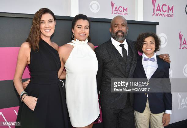 Beth Leonard Daniella Rose Rucker recording artist Darius Rucker and Jack Rucker attend the 52nd Academy Of Country Music Awards at Toshiba Plaza on...