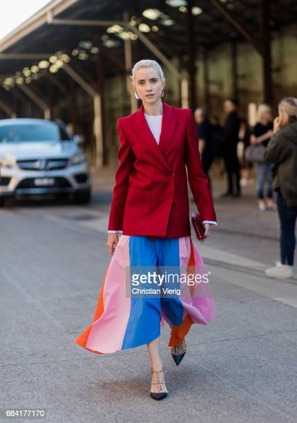 Beth Levis wearing a Dion Lee top Acne jacket Valentino shoes and Dior bag at day 4 during MercedesBenz Fashion Week Resort 18 Collections at...