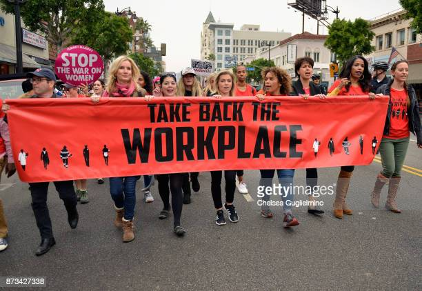 Beth Littleford Lauren Sivan Tess Rafferty Connie Leyva and Areva Martin seen at the Take Back The Workplace March on November 12 2017 in Hollywood...