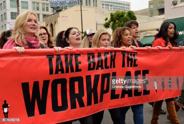 Beth Littleford Tess Rafferty Lauren Sivan Connie Leyva and Areva Martin seen at the Take Back The Workplace March on November 12 2017 in Hollywood...