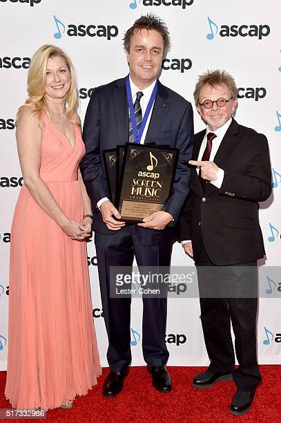 ASCAP CEO Beth Matthews honoree Sean Callery and ASCAP president and chairman Paul Williams attend the 2016 ASCAP Screen Music Awards at The Beverly...