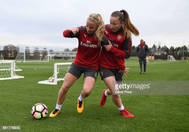 Beth Mead and Anna Filbey of Arsenal Women during the Arsenal Womens Training Session at London Colney on November 29 2017 in St Albans England