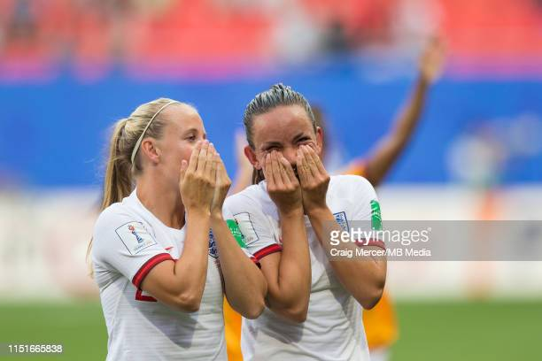 Beth Mead and Lucy Staniforth of England enjoy the lap of honour after the 2019 FIFA Women's World Cup France Round Of 16 match between England and...
