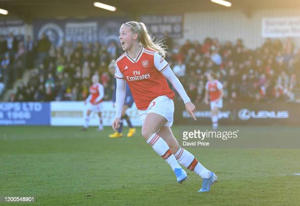 Beth Mead celebrates scoring a goal for Arsenal during the Barclays FA Women's Super League match between Arsenal and Chelsea at Meadow Park on...
