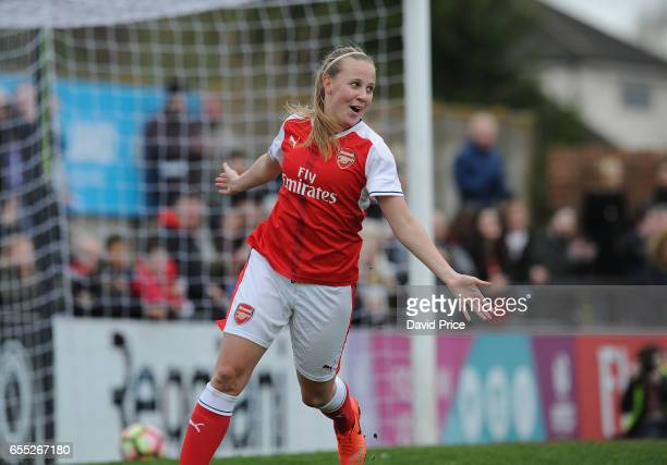 Beth Mead celebrates scoring a goal for Arsenal during the match between Arsenal Ladies and Tottenham Hotspur Ladies on March 19 2017 in Borehamwood...