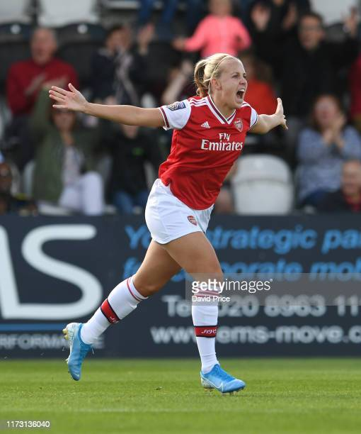 Beth Mead celebrates scoring a goal for Arsenal during the WSL match between Arsenal Women and West HamUnited Women at Meadow Park on September 08...