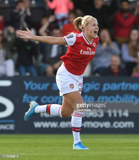 Beth Mead celebrates scoring Arsenal's 1st goal during the WSL match between Arsenal Women and West Ham United Women at Meadow Park on September 08...