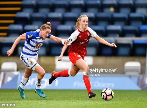 Beth Mead of Arsenal and Rachel Rowe of Reading FC Women during Women's Super League 1 match between Reading FC Women against Arsenal at Wycombe...